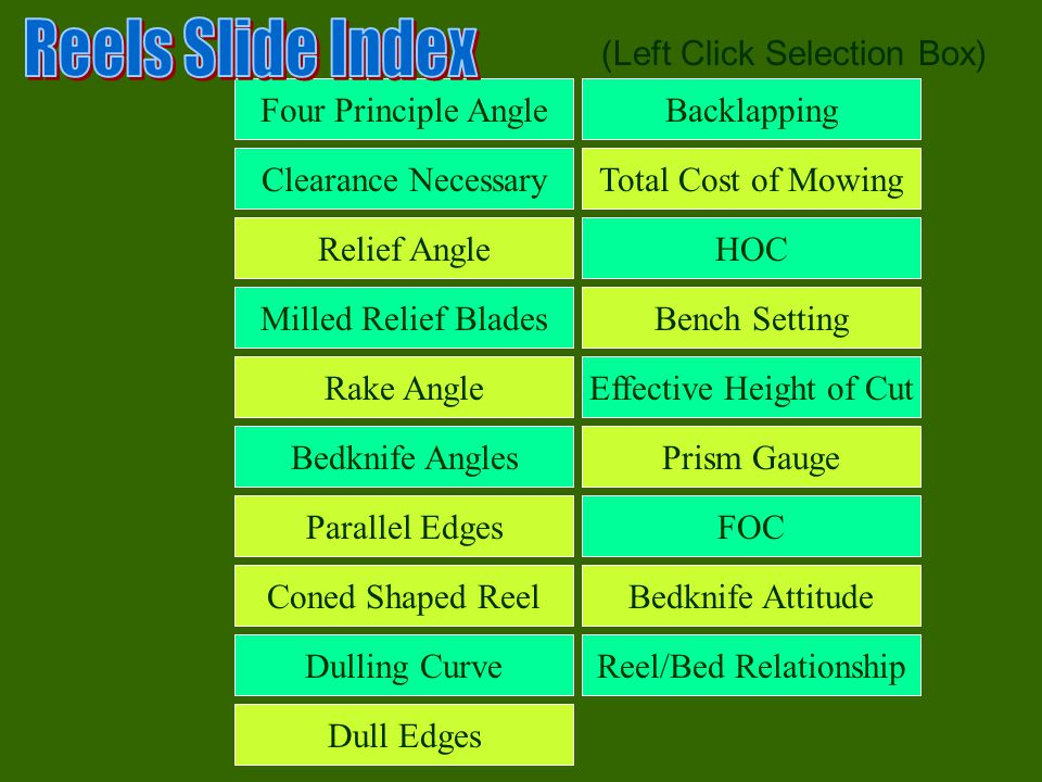 Reels Slide Index (Left Click Selection Box) Four Principle Angle