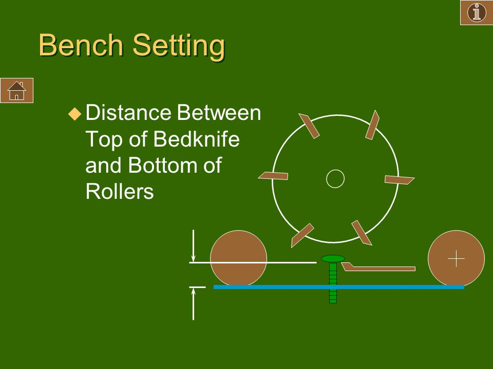 Bench Setting Distance Between Top of Bedknife and Bottom of Rollers
