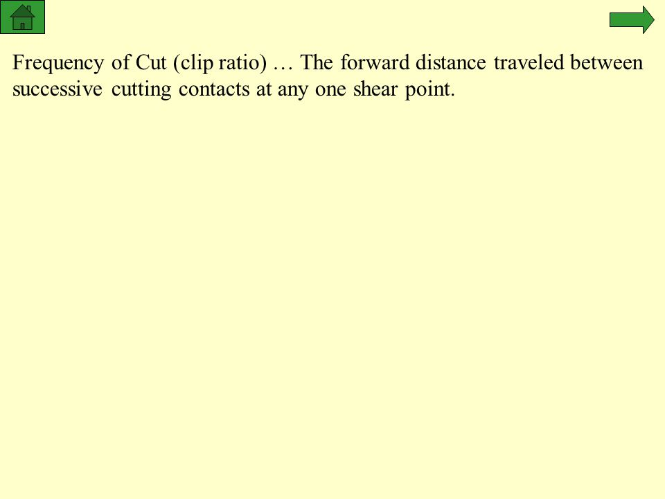 24 NOV 97 Frequency of Cut (clip ratio) … The forward distance traveled between successive cutting contacts at any one shear point.