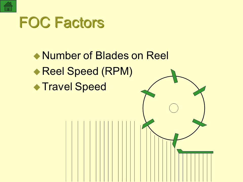 FOC Factors Number of Blades on Reel Reel Speed (RPM) Travel Speed