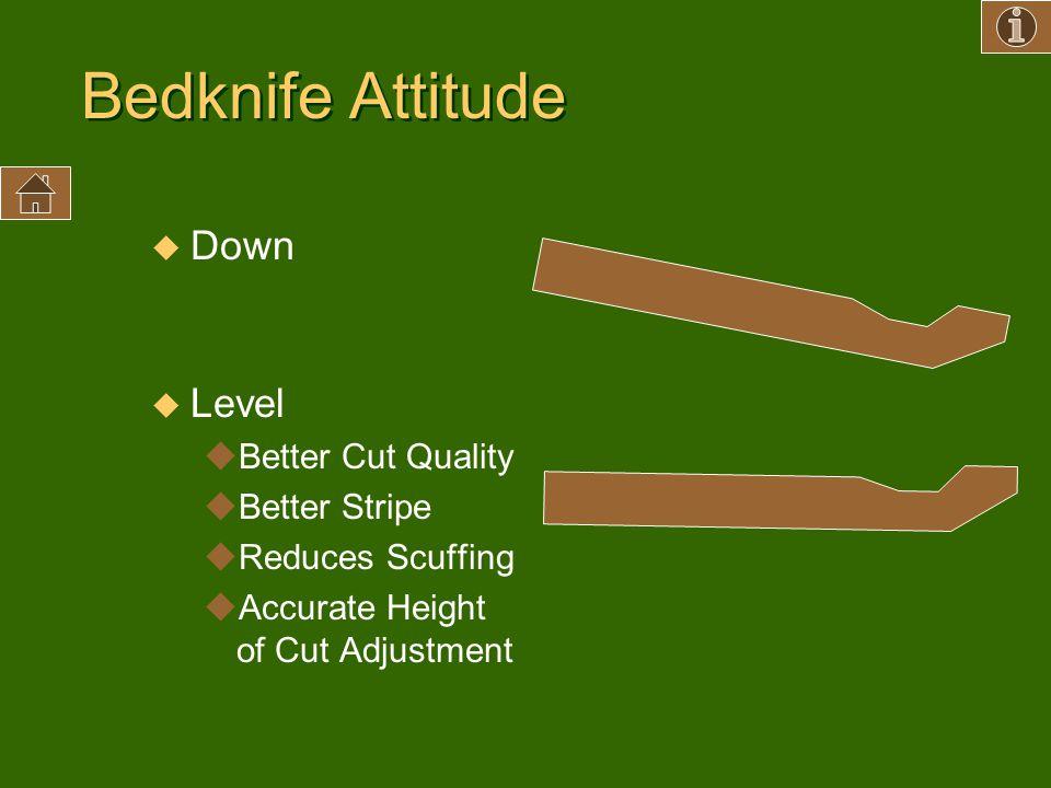 Bedknife Attitude Down Level Better Cut Quality Better Stripe