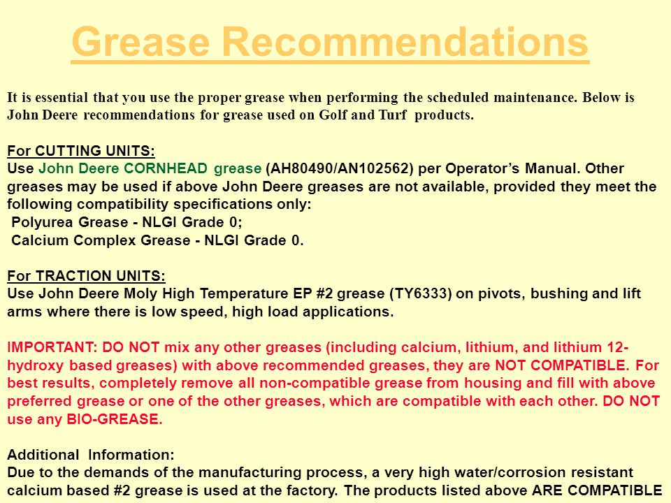 Grease Recommendations