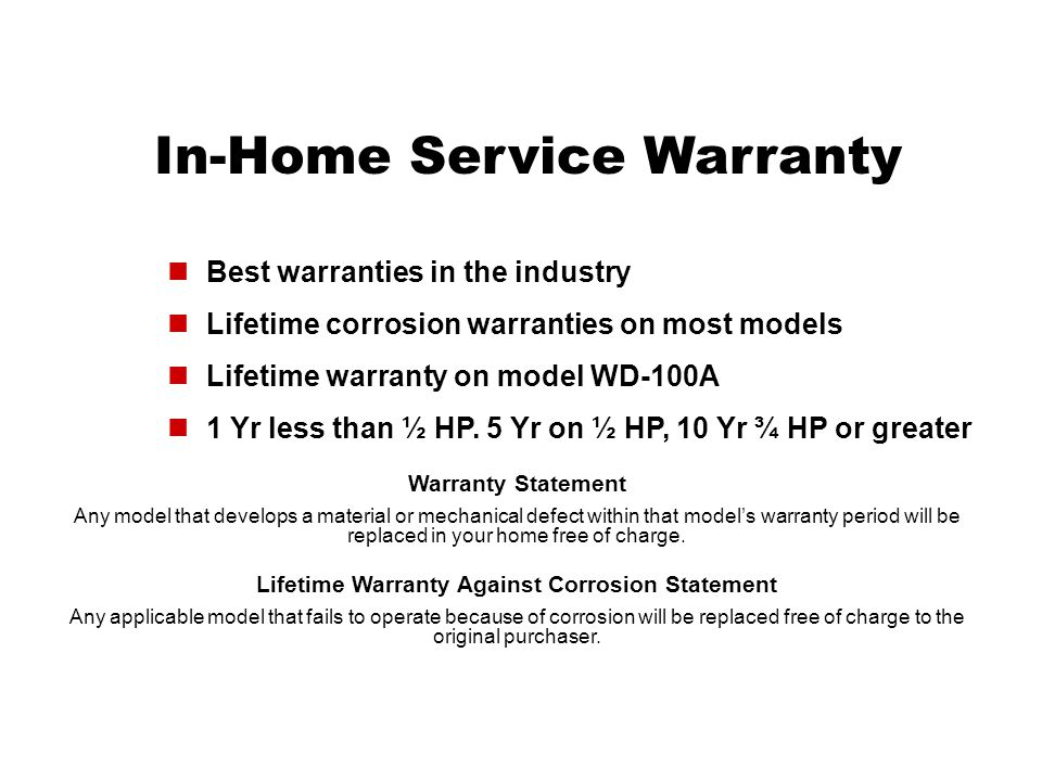 Lifetime Warranty Against Corrosion Statement