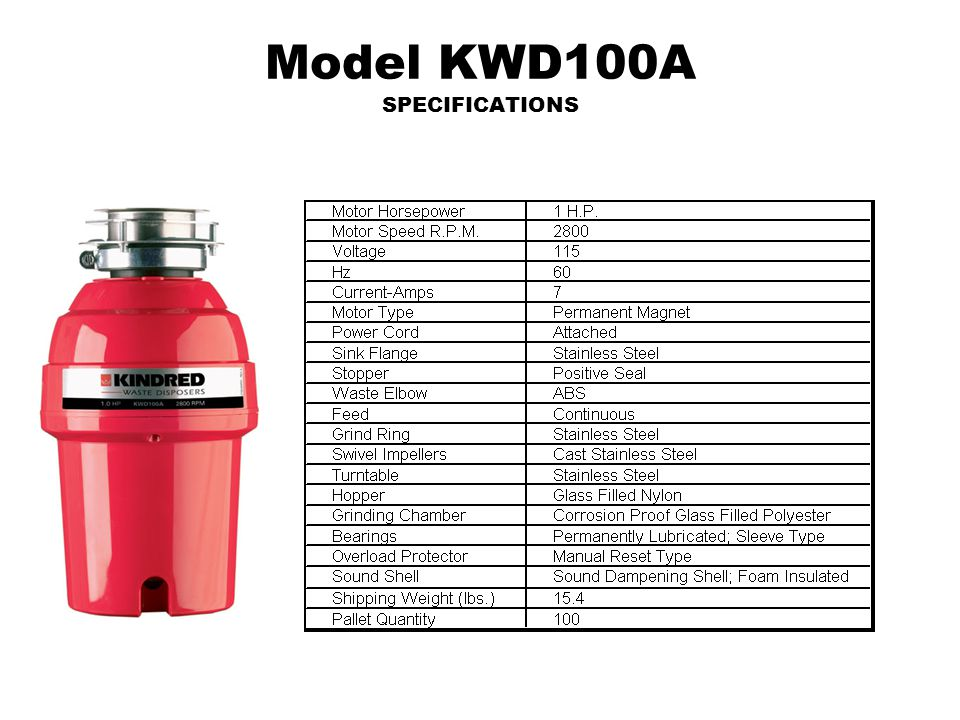 Model KWD100A SPECIFICATIONS