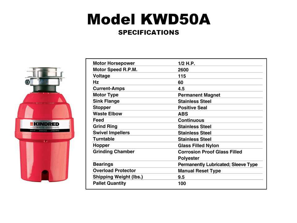 Model KWD50A SPECIFICATIONS