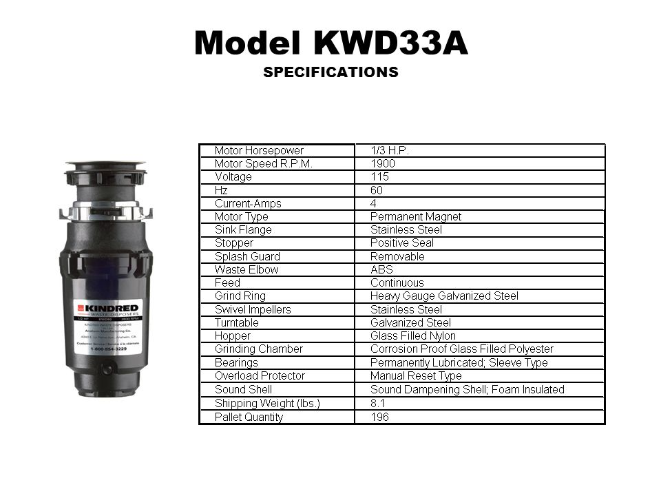 Model KWD33A SPECIFICATIONS