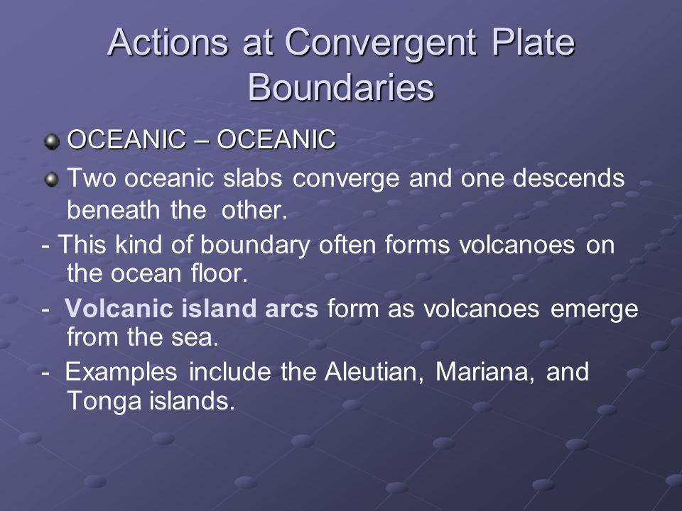 Actions at Convergent Plate Boundaries