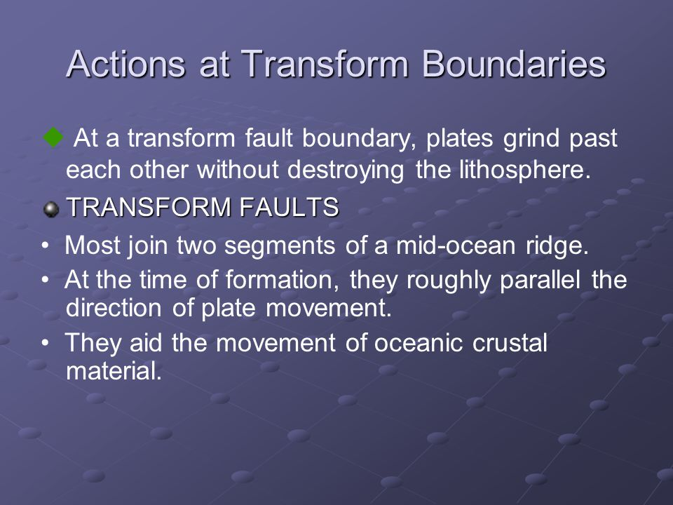 Actions at Transform Boundaries