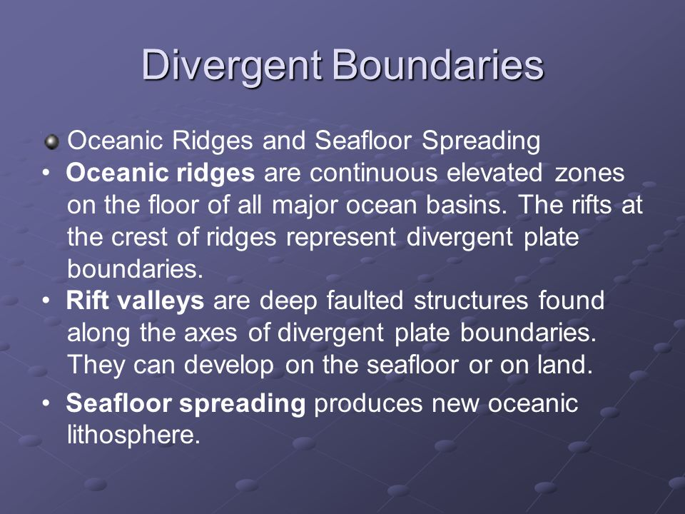 Divergent Boundaries Oceanic Ridges and Seafloor Spreading