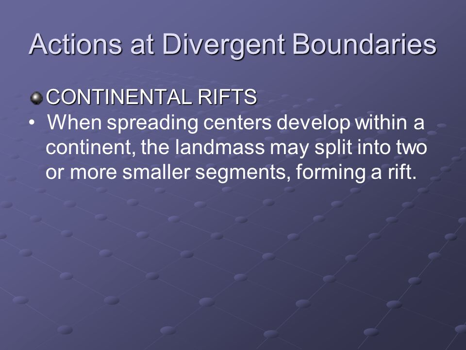 Actions at Divergent Boundaries