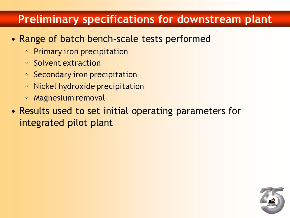 Preliminary specifications for downstream plant