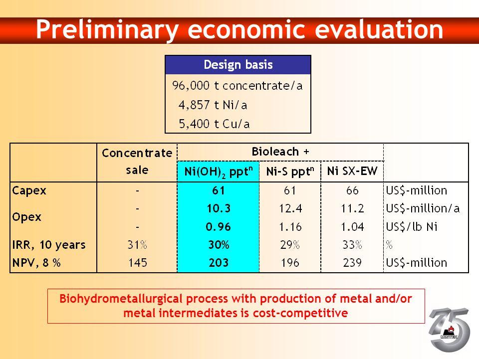 Preliminary economic evaluation
