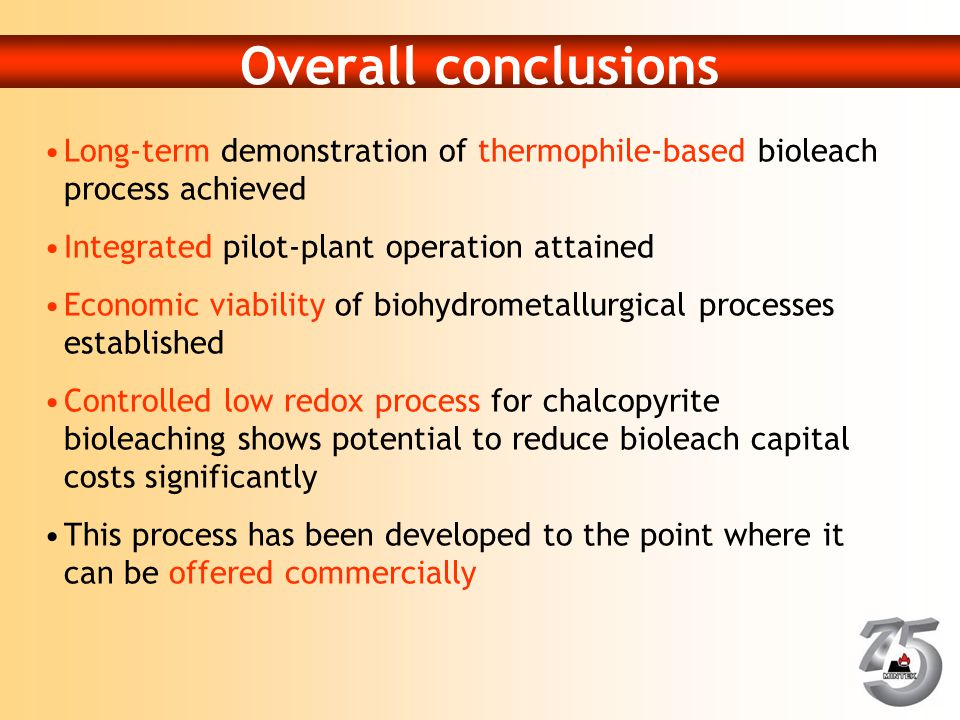 Overall conclusions Long-term demonstration of thermophile-based bioleach process achieved. Integrated pilot-plant operation attained.