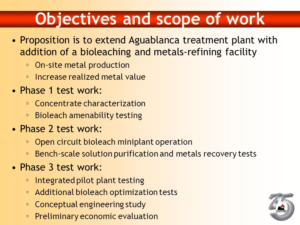 Objectives and scope of work