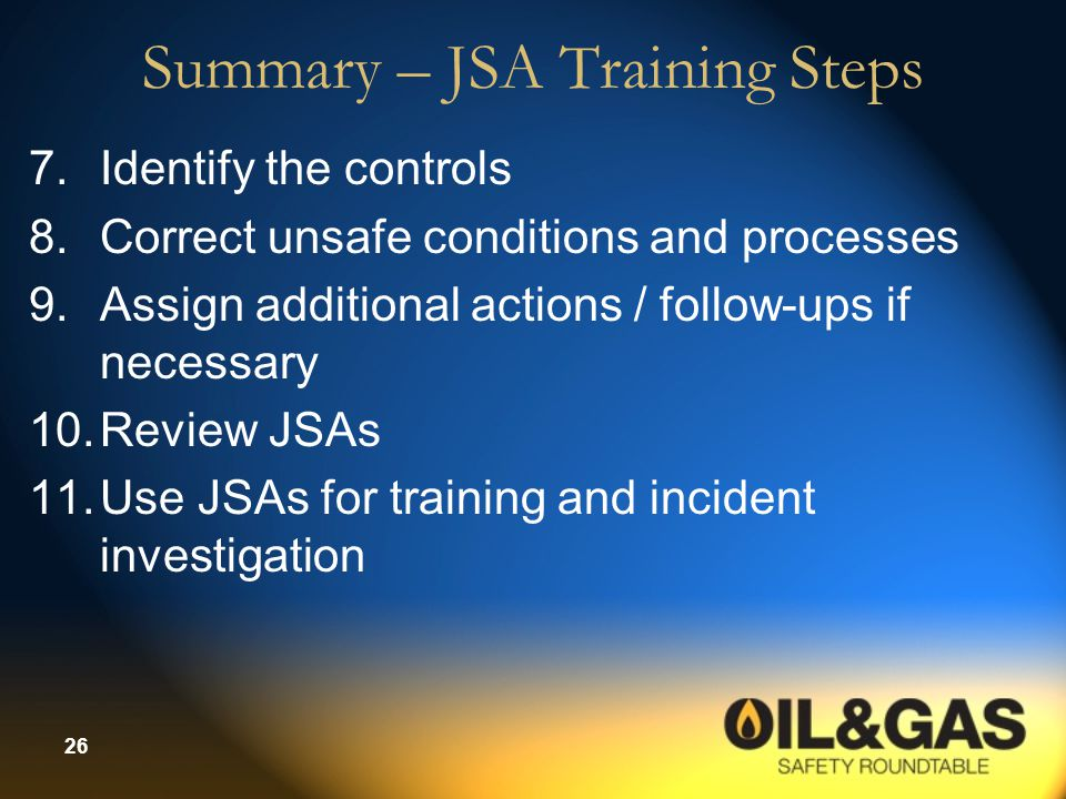 Summary – JSA Training Steps