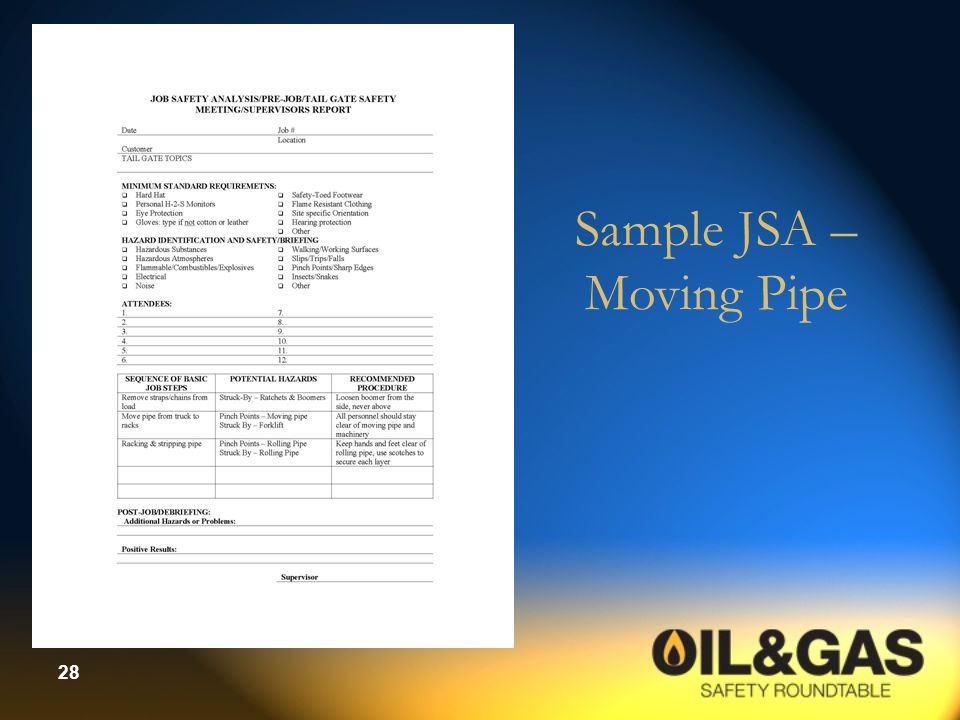 Sample JSA – Moving Pipe