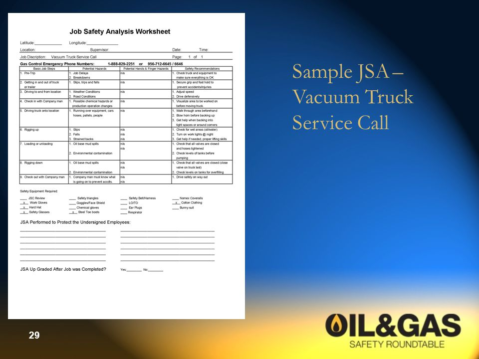 Sample JSA – Vacuum Truck Service Call