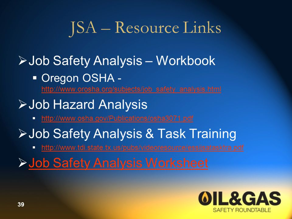 JSA – Resource Links Job Safety Analysis – Workbook