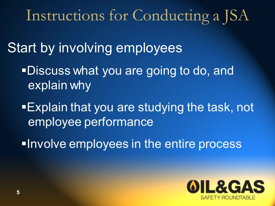 Instructions for Conducting a JSA