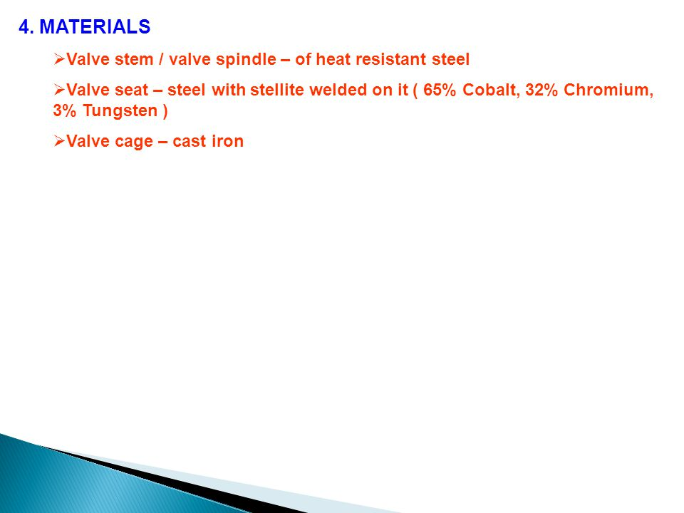 4. MATERIALS Valve stem / valve spindle – of heat resistant steel