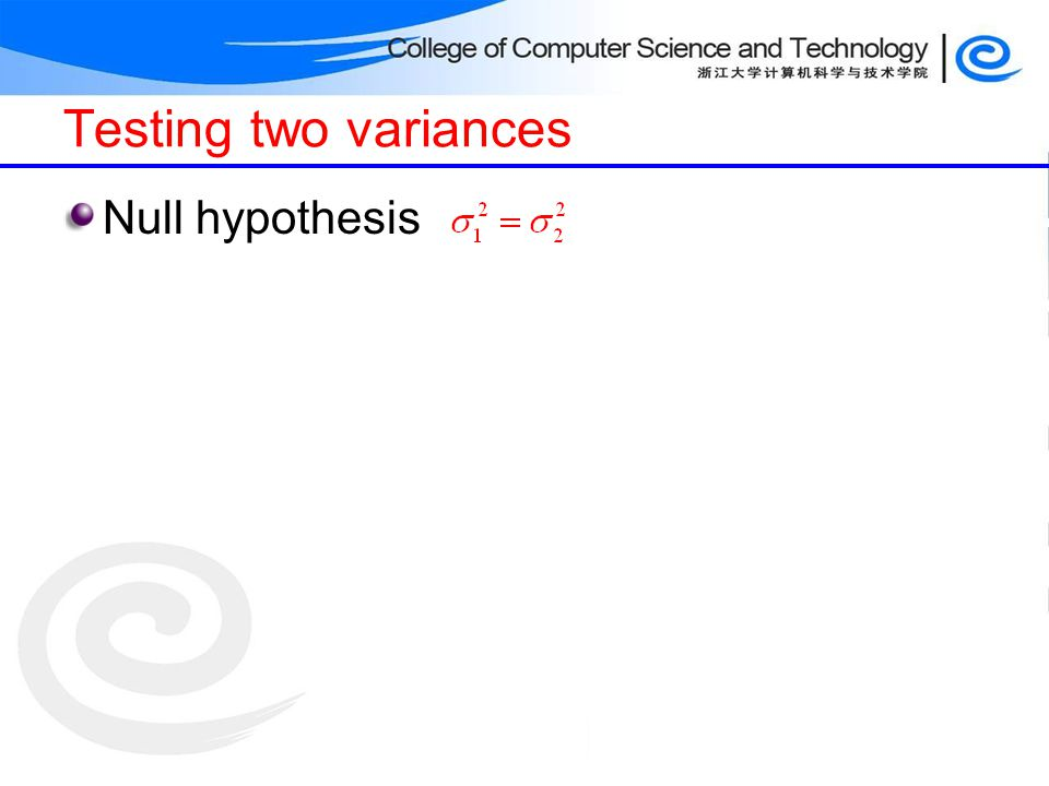 Testing two variances Null hypothesis