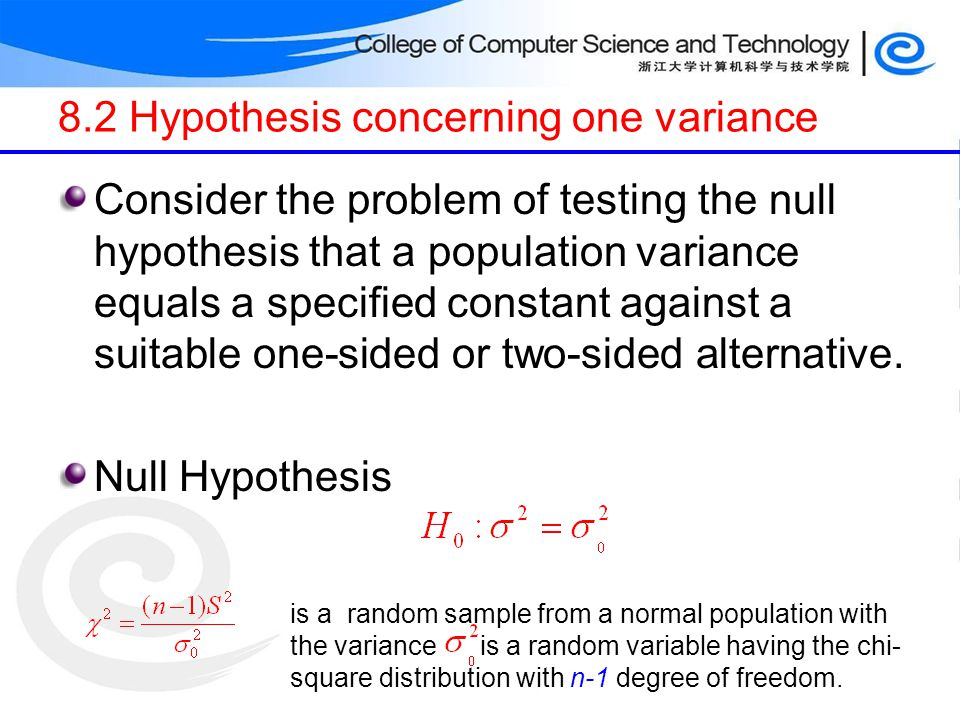 8.2 Hypothesis concerning one variance