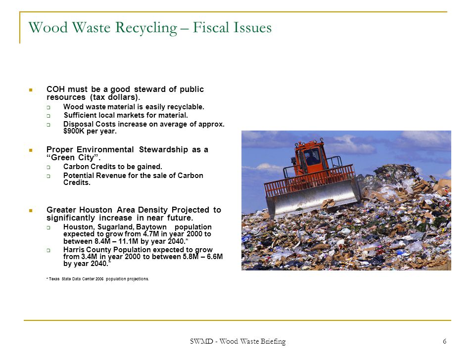 Wood Waste Recycling – Fiscal Issues