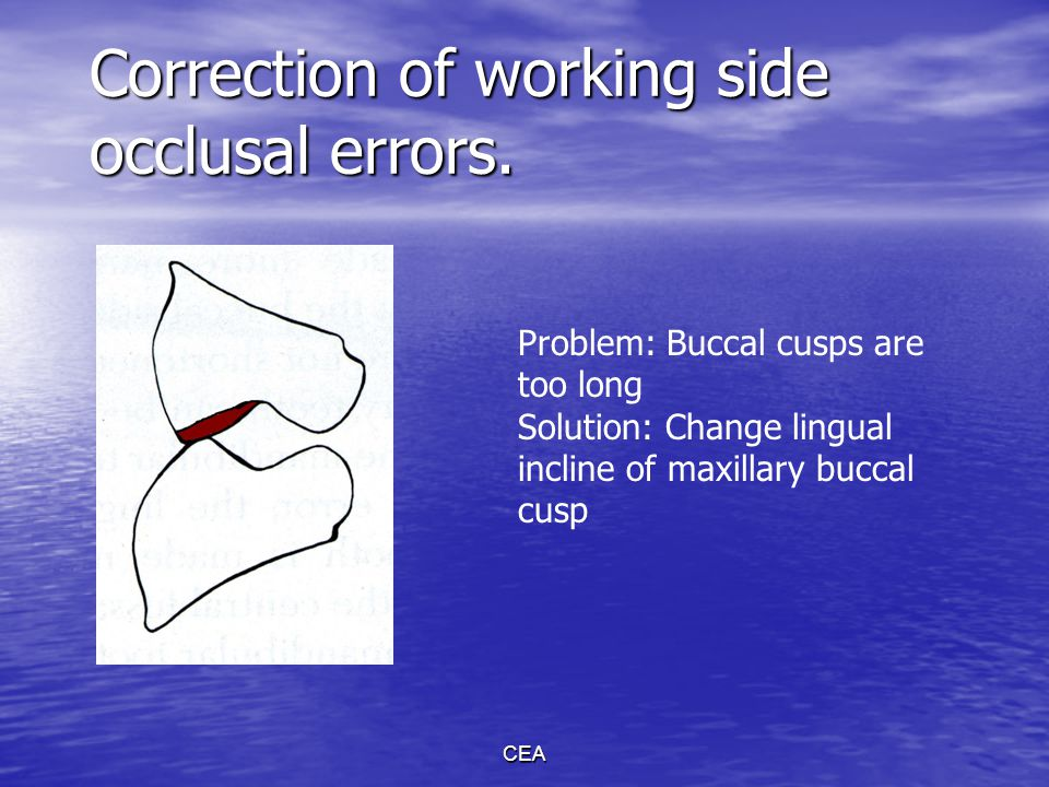 Correction of working side occlusal errors.