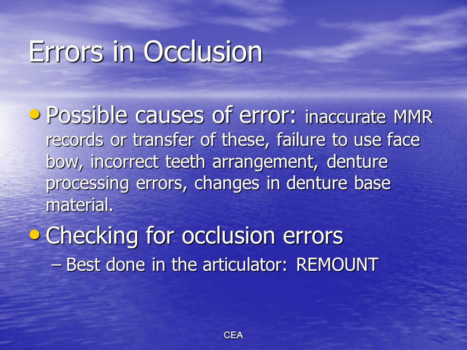 Errors in Occlusion
