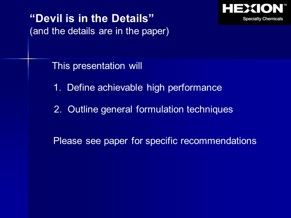 Devil is in the Details
