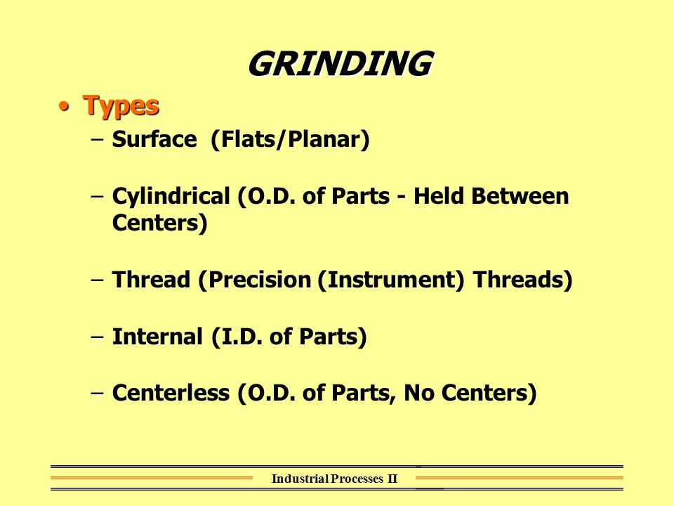 Industrial Processes II