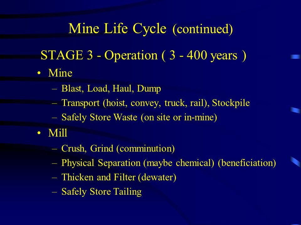 Mine Life Cycle (continued)