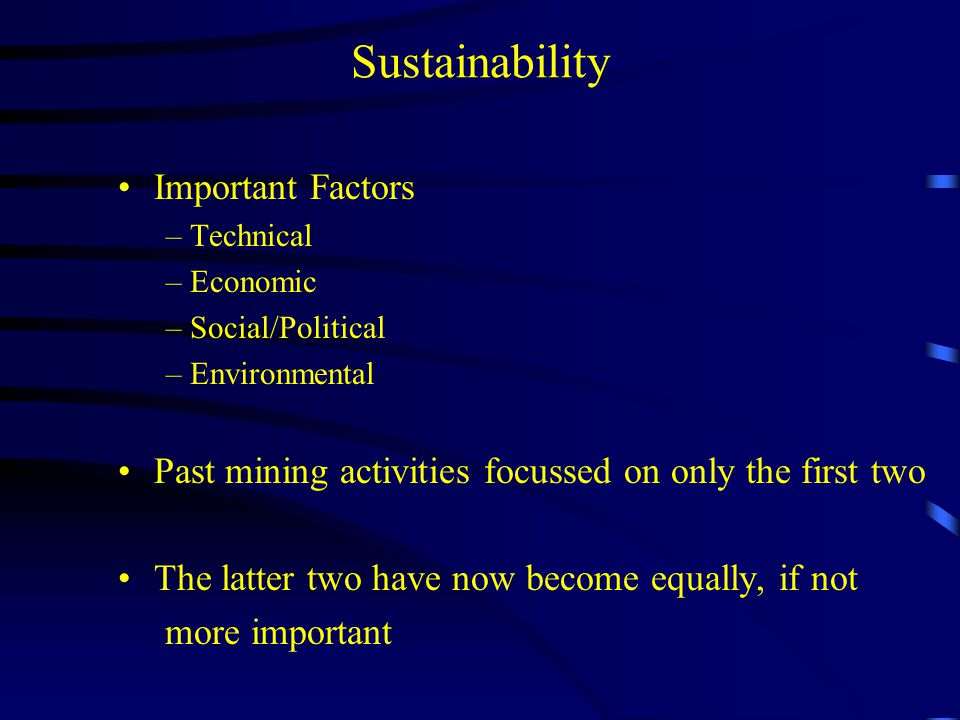 Sustainability Important Factors