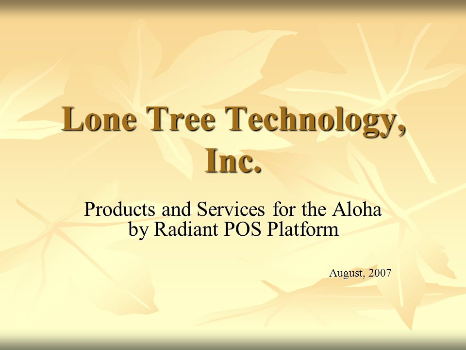 Lone Tree Technology, Inc.