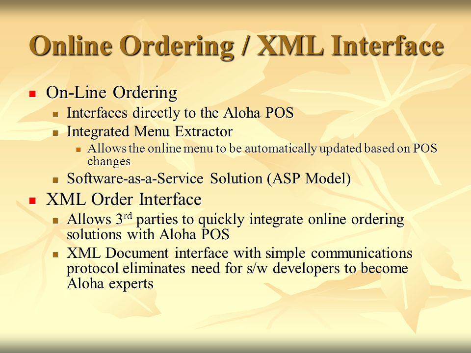Online Ordering / XML Interface