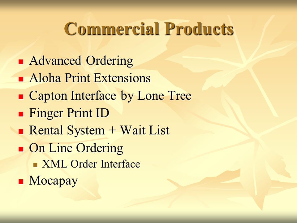 Commercial Products Advanced Ordering Aloha Print Extensions