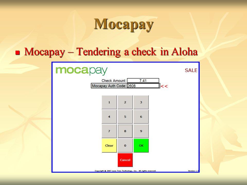 Mocapay Mocapay – Tendering a check in Aloha