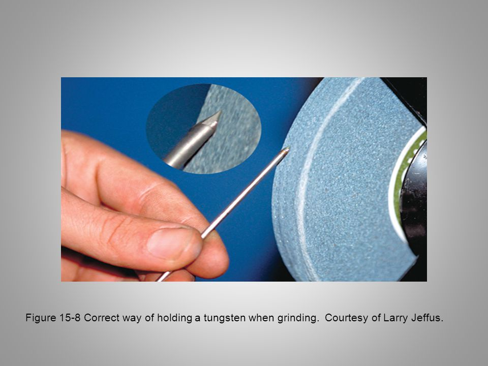 Figure 15-8 Correct way of holding a tungsten when grinding