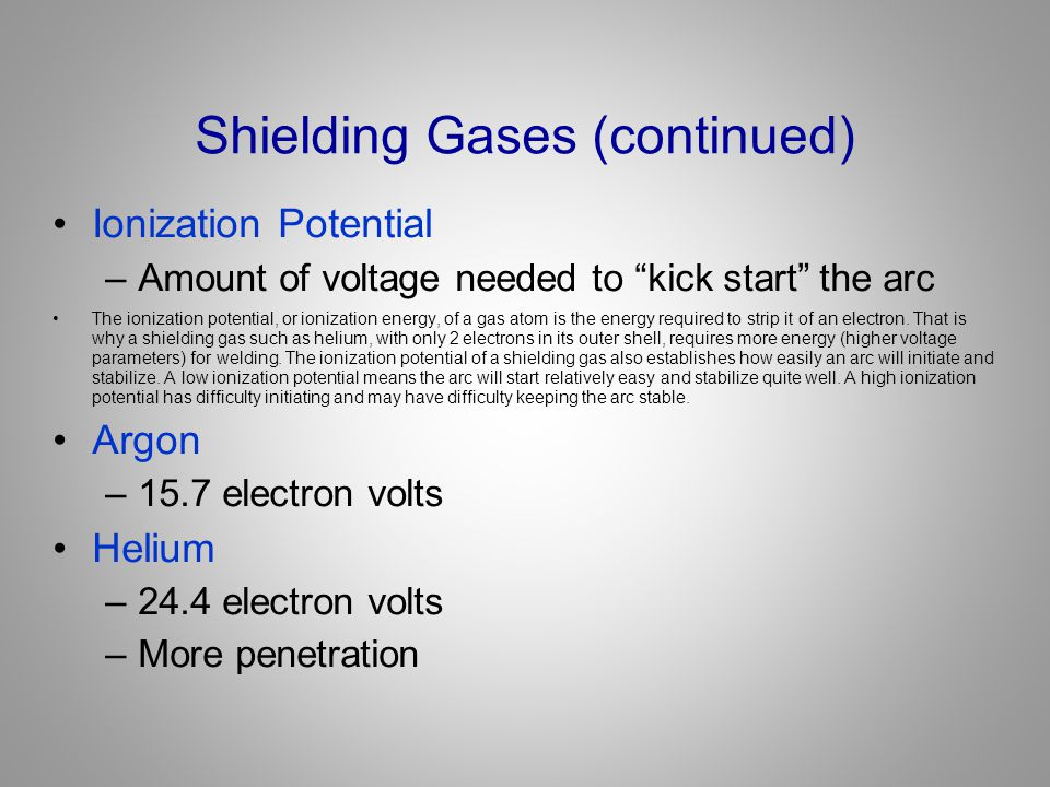 Shielding Gases (continued)