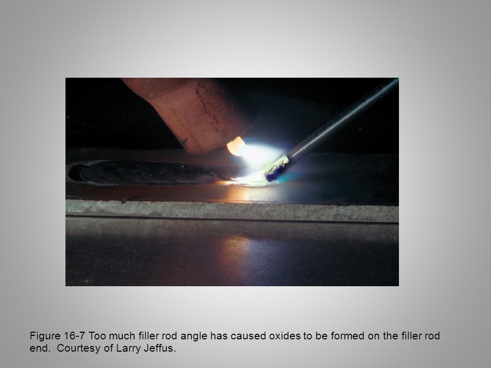 Figure 16-7 Too much filler rod angle has caused oxides to be formed on the filler rod end.