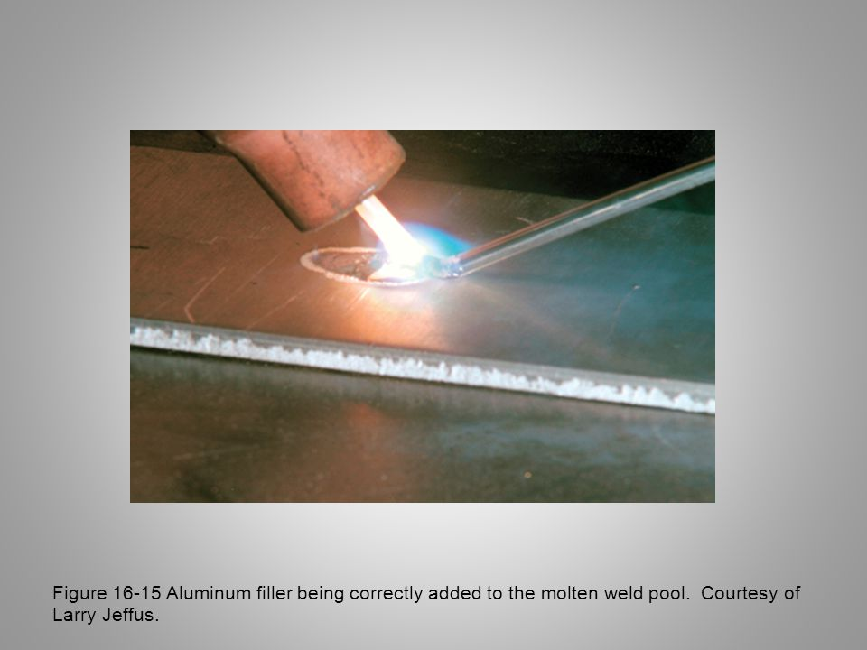 Figure 16-15 Aluminum filler being correctly added to the molten weld pool.