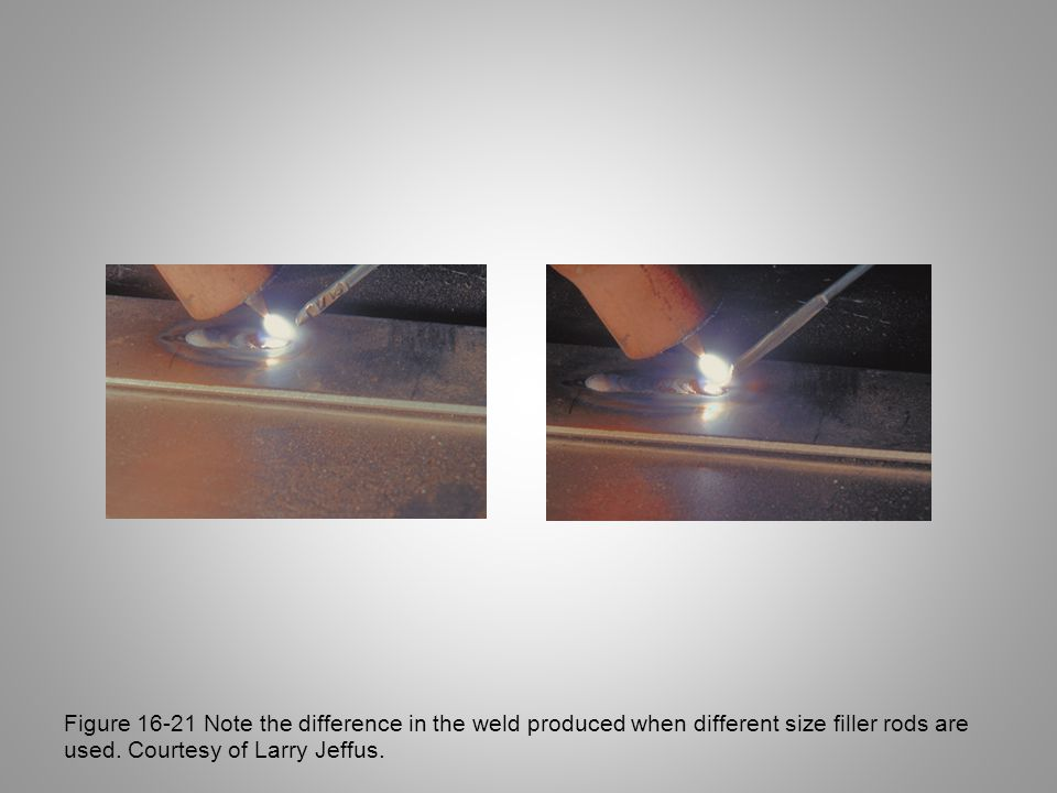 Figure 16-21 Note the difference in the weld produced when different size filler rods are used.