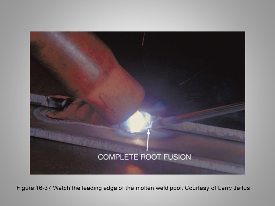 Figure 16-37 Watch the leading edge of the molten weld pool