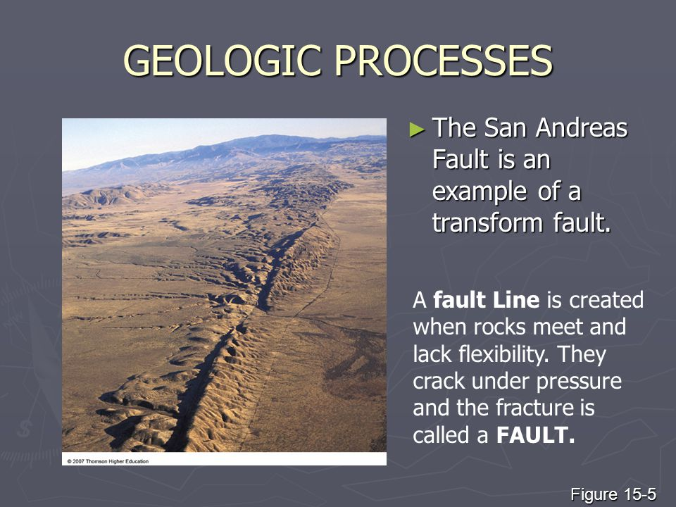 GEOLOGIC PROCESSES The San Andreas Fault is an example of a transform fault.