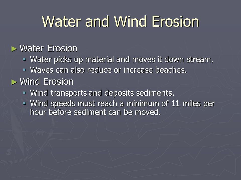 Water and Wind Erosion Water Erosion Wind Erosion