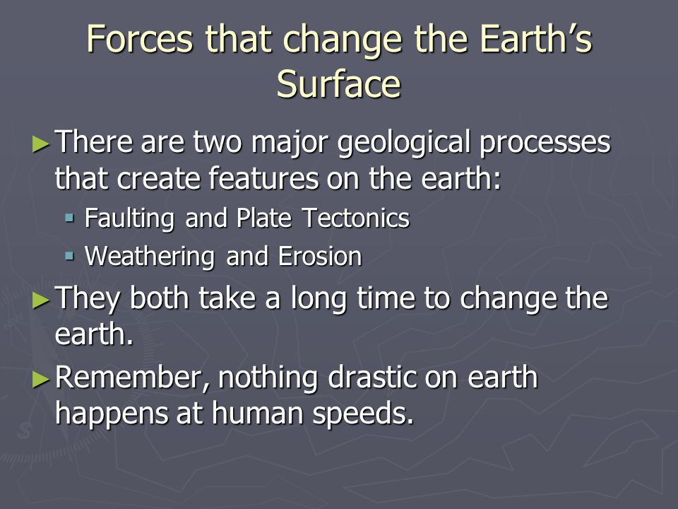 Forces that change the Earth's Surface