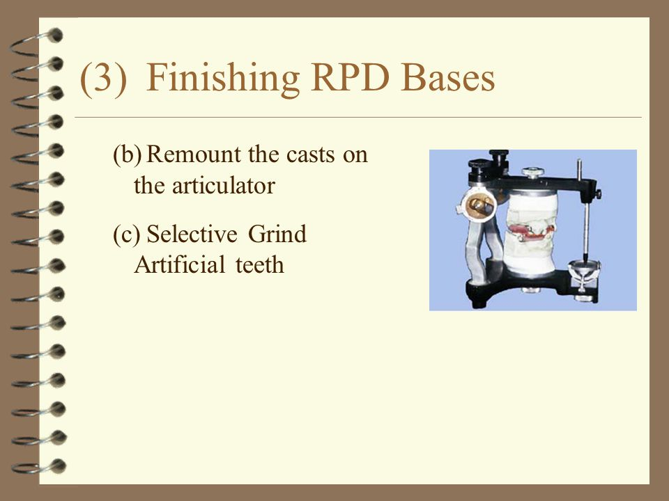 (3) Finishing RPD Bases (b) Remount the casts on the articulator