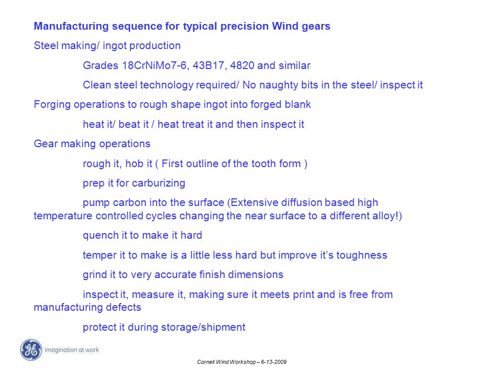 Manufacturing sequence for typical precision Wind gears