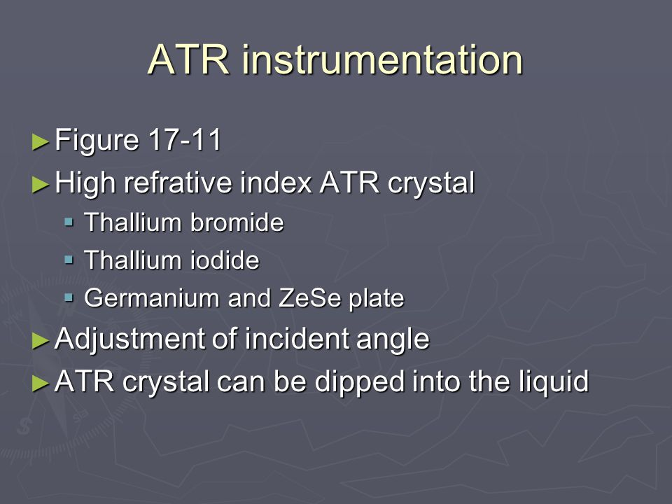 ATR instrumentation Figure 17-11 High refrative index ATR crystal