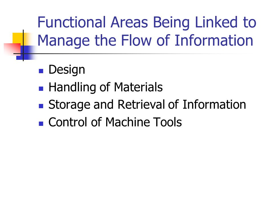 Functional Areas Being Linked to Manage the Flow of Information